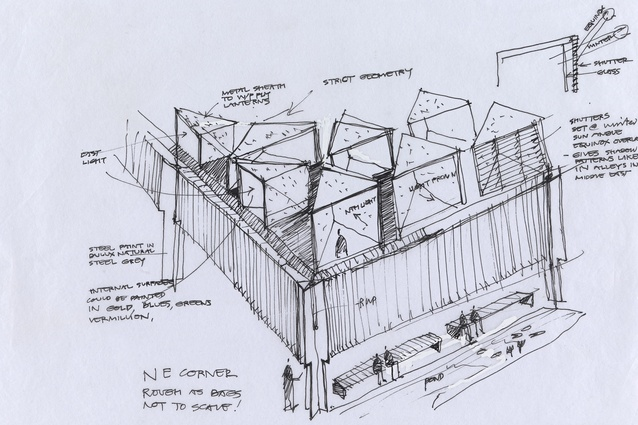Glenn Murcutt's sketch of the Australian Islamic Centre by Glenn Murcutt and Elevli Plus Architects.