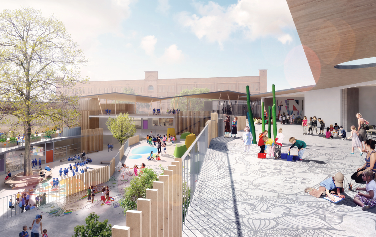 The childcare centre and playground at Ultimo-Pyrmont Public School designed by DesignInc, Lacoste and Stevenson and BCM2.