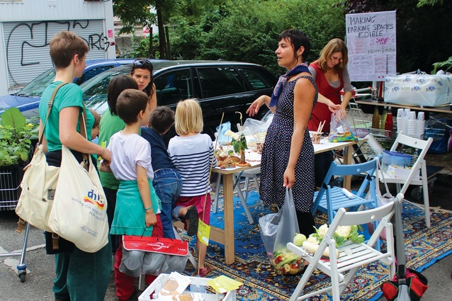 """""""Parking day"""" was one of the workshops facilitated by Rachel Smith for the BMW Guggenheim Lab, which transformed Berlin car-parking spaces into public parks."""