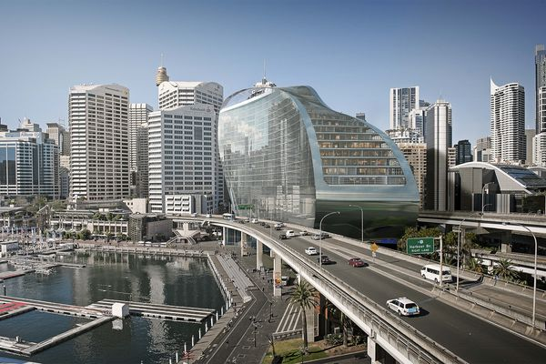 The new proposal for the Ribbon by Hassell at Sydney's Darling Harbour.
