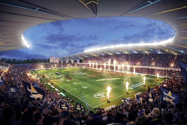 The proposed North Queensland Stadium designed by Cox Architecture and 9Point9 Architects will have 25,000 seats with the capacity to expand to 30,000 seats in the future.