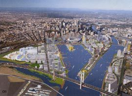 Aerial view of projected development at Docklands, with the city beyond. Image Design Media.