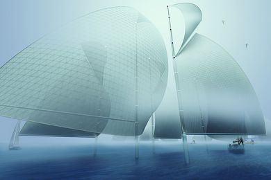 Regatta H2O by Christopher Sjoberg and Ryo Saito, winner of LAGI 2016 Santa Monica. Energy technology: aerostatic flutter wind harvesting (WindBelt™). Water technology: fog harvesting. Annual capacity: 70 MWh (used on site) and 112 million liters of drinking water.