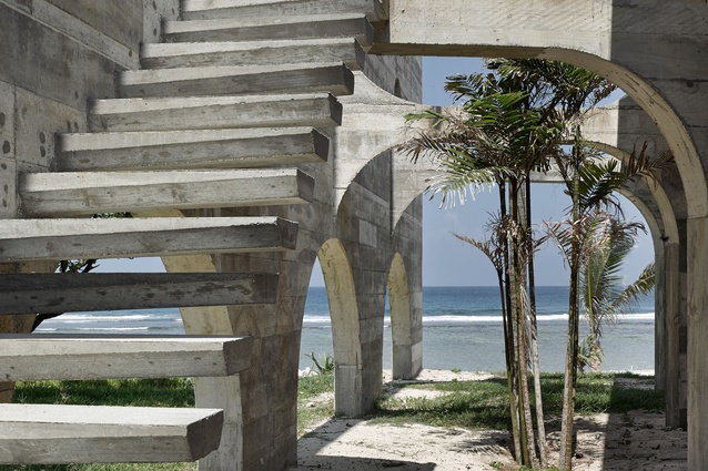 In its unfinished state, the resort resembles an unearthed ruin.