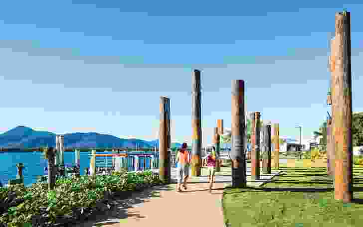 Totems of recycled piers tell Indigenous stories of the landscape.