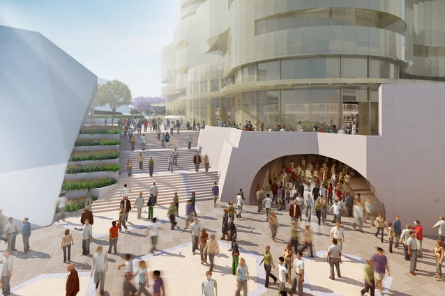New station entry in the proposed redevelopment of Adelaide Festival Plaza designed by ARM Architecture and Taylor Cullity Lethlean.