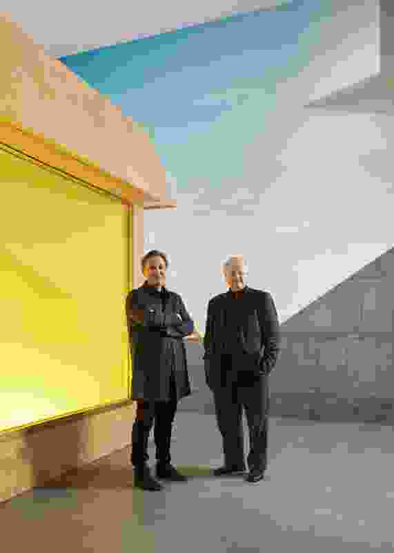 Hakan Elevli (left) and Glenn Murcutt AO (right) at Glenn Murcutt: Architecture of Faith at The Ian Potter Centre: NGV Australia, 9 August 2016 – 19 February 2017.
