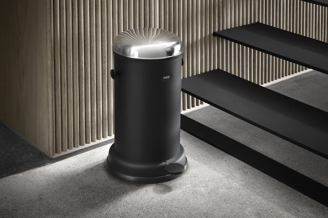 VIPP's iconic steel-cylinder pedal bin.