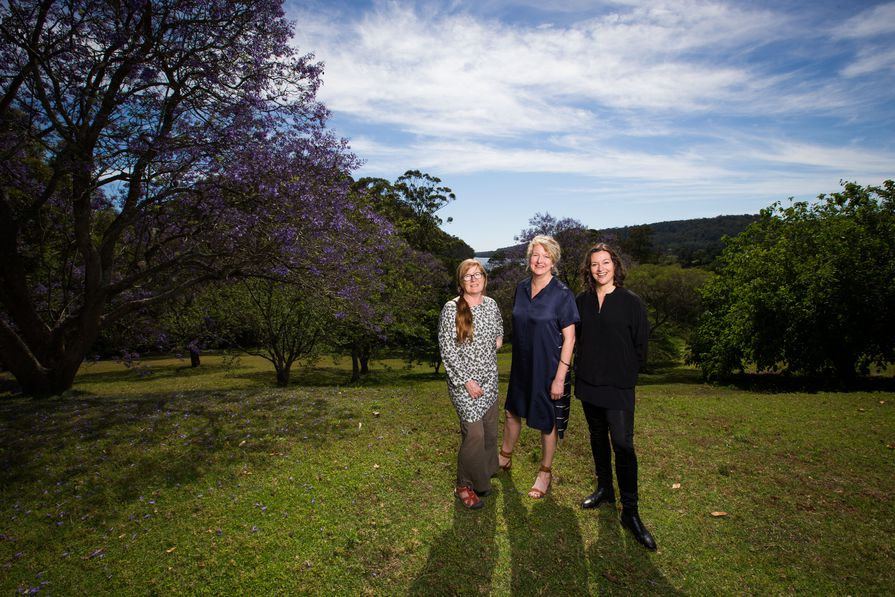 Landscape architect Megan Wraight (left), the Bundanon Trust's Deborah Ely (centre) and architect Kerstin Thompson (right) at the Riversdale site.