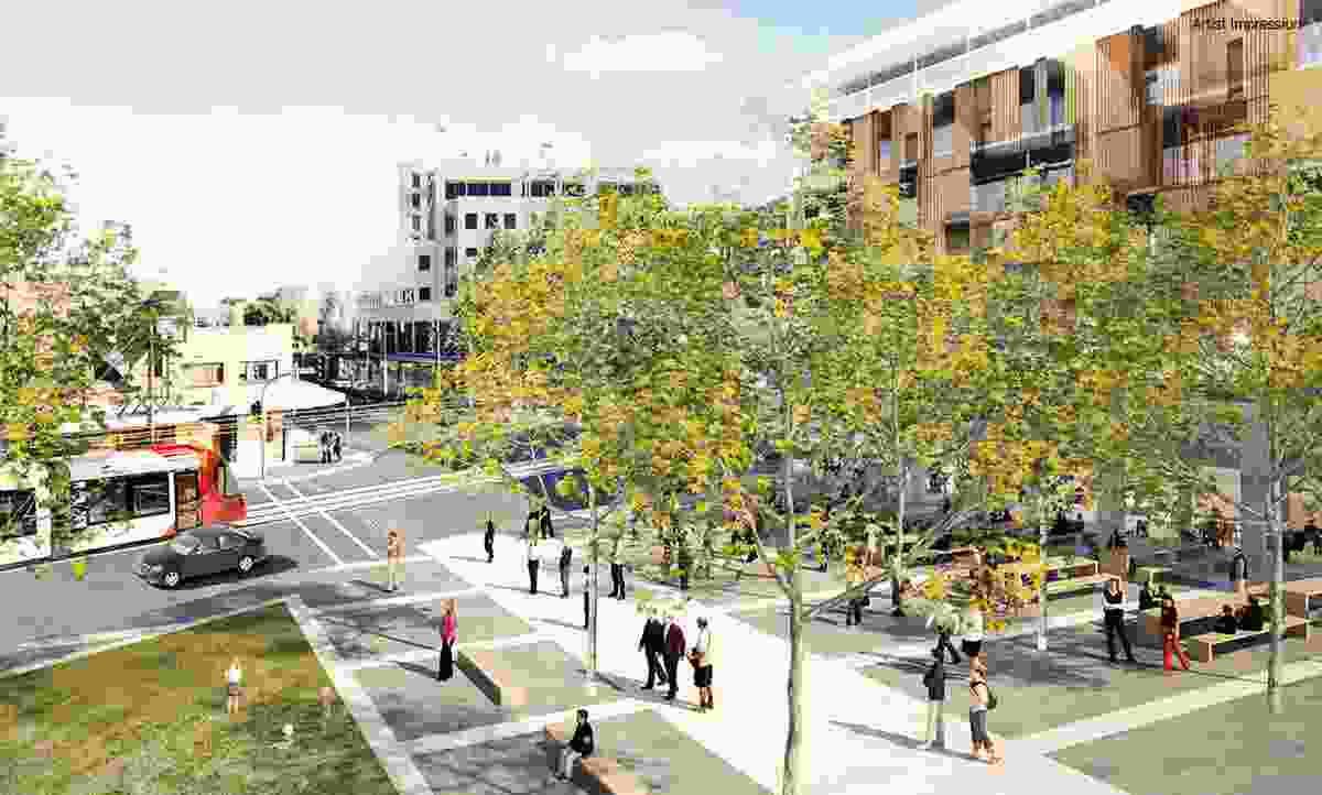 Proposed urban plaza at the junction of Darby and Argyle Streets in the plan to revitalize Newcastle.
