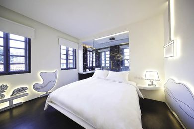 A black and white room by DP Architects of Hotel Wanderlust in Singapore, part of Design Hotels.