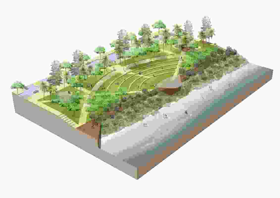 An amphitheatre in the proposed Yeppoon foreshore revitalization by Taylor Cullity Lethlean.