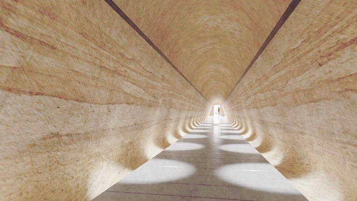 Terowongan yang diusulkan di Museum Seni Lama dan Baru oleh Arsitek Nonda Katsalidis.