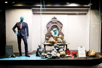 Michelangelo busts in the David Jones menswear window by AZB Creative.