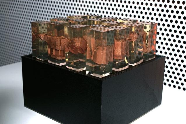 Andrew Southwood-Jones and Alexander Kashin, <em>Basement</em> (2013), gelatin, 3D-printed chocolate and lightbox.