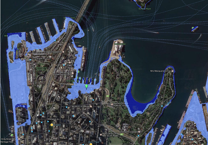 Sydney's Circular Quay would be at risk of flooding if the sea-level were to rise by two metres.