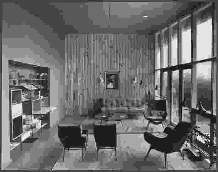 Image of interior of a Royal Victorian Institute of Architects Small Home Services House, designed in conjunction with the Age newspaper, 1955.