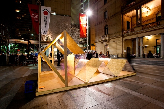 A shelter by Koichi Takada Architect at the Sydney exhibition.