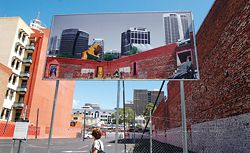 Simon Pendal Architect's billboard, Wellington Street, a comment on the changing city.