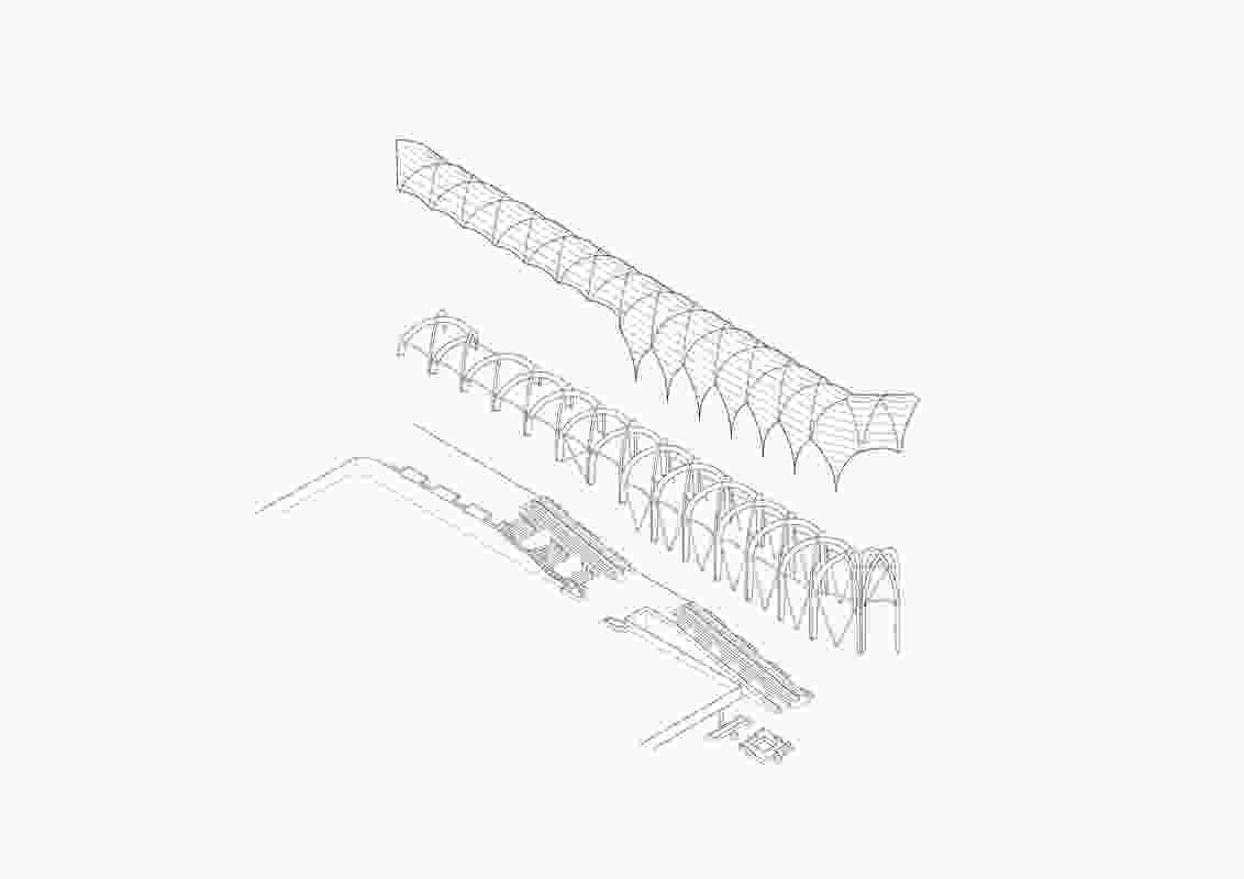 这张分解的轴测图显示了Link的建筑层次。