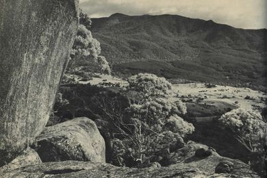 Geology can sometimes make a powerful visual statement. Where it does so, respect it by avoiding trivial 'beautification', or structures that are out of scale or character. Tidbinbilla, ACT.