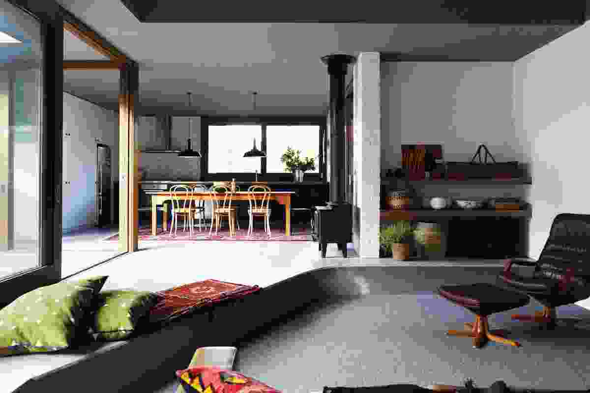 A sunken area defines the living space.
