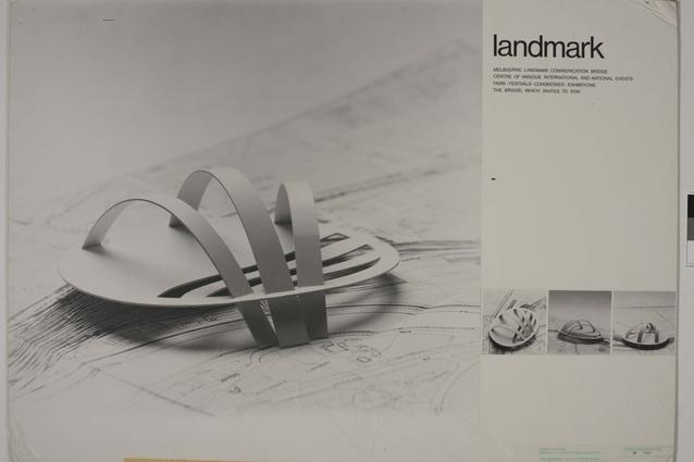 "Shortlisted entry in the 1978 Melbourne Landmark Ideas Competition: ""Melbourne Landmark Communication Bridge."""