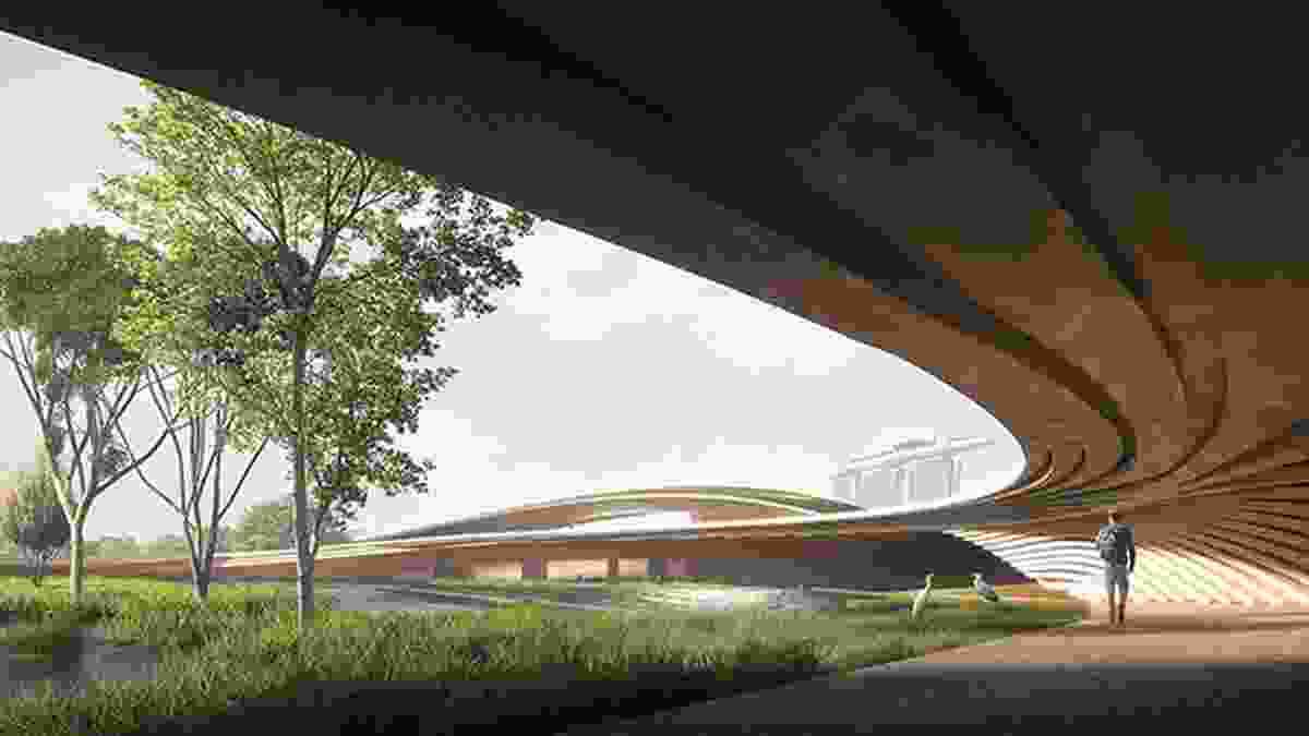 Arrival from the car park in the winning proposal for Singapore Founders Memorial by Kengo Kuma and Associates and K2LD Architects.