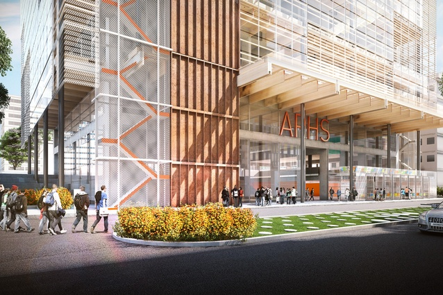 Grimshaw Architects and BVN's competition-winning design for Arthur Phillip High School and the adjacent Parramatta Public School.