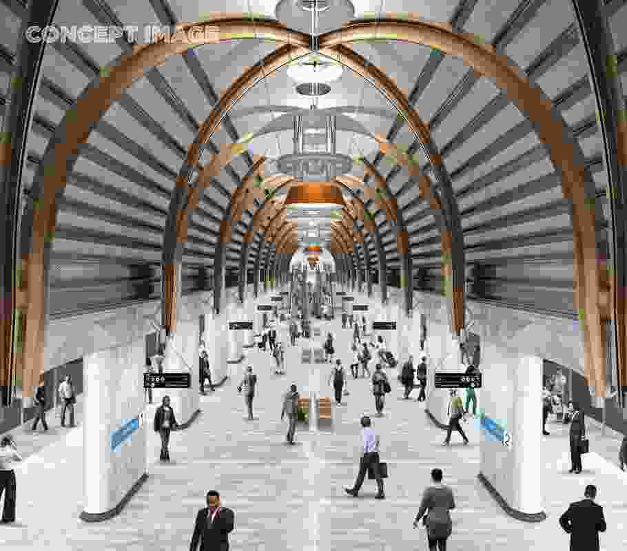The design for State Library station by Hassell, Weston Williamson and Rogers Stirk Harbour and Partners.