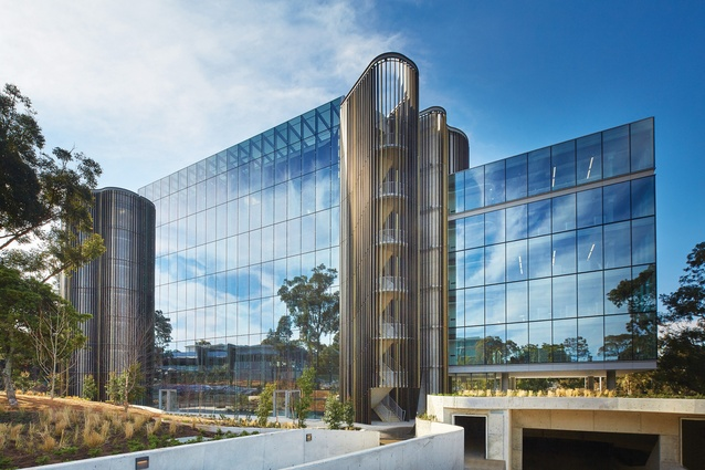 The glass rectangular form is designed to represent the scientific aspect of Novartis's work, while the timber curvilinear cores represent the humanistic aspect.