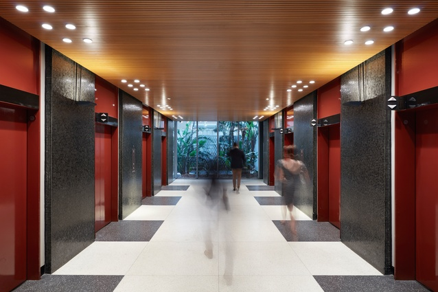 The lift lobby of ICI House by Bates Smart and McCutcheon.