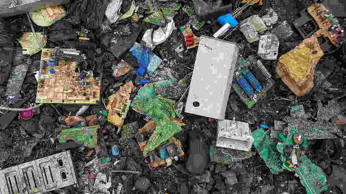 Electronic waste at Agbogbloshie, Ghana, a notorious dumping ground for such material.
