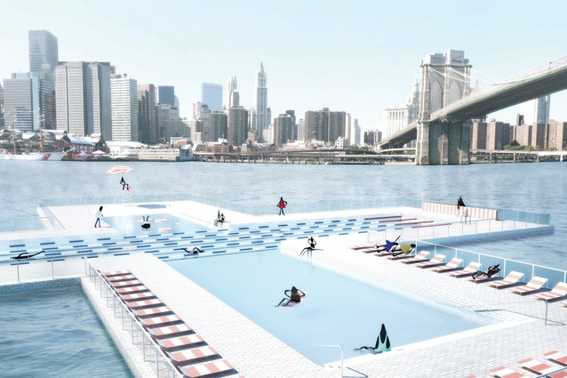 The cruciform +Pool divides into four sections for swimming, sports, lounging and children.