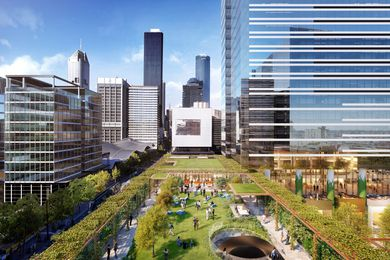 """The first stage approval includes a 2000-square-metre elevated """"skypark"""" designed by  Denton Corker Marshall with Aspect Oculus."""