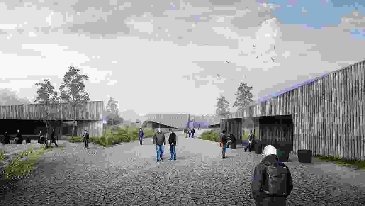 The new Cradle Mountain visitor centre would contain a cable car transit centre and event and gathering spaces.