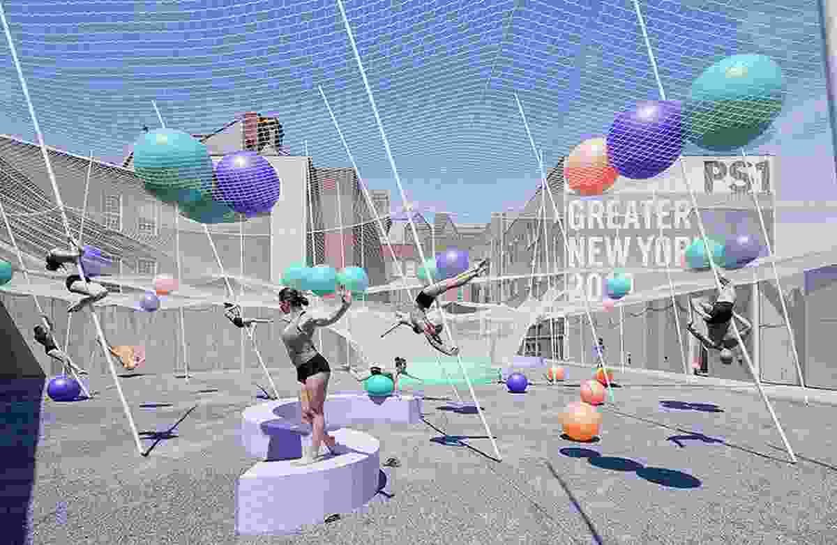"SO–IL's Pole Dance, a ""participatory"" courtyard for New York's MoMA featuring an interconnected system of poles, nets and balls."