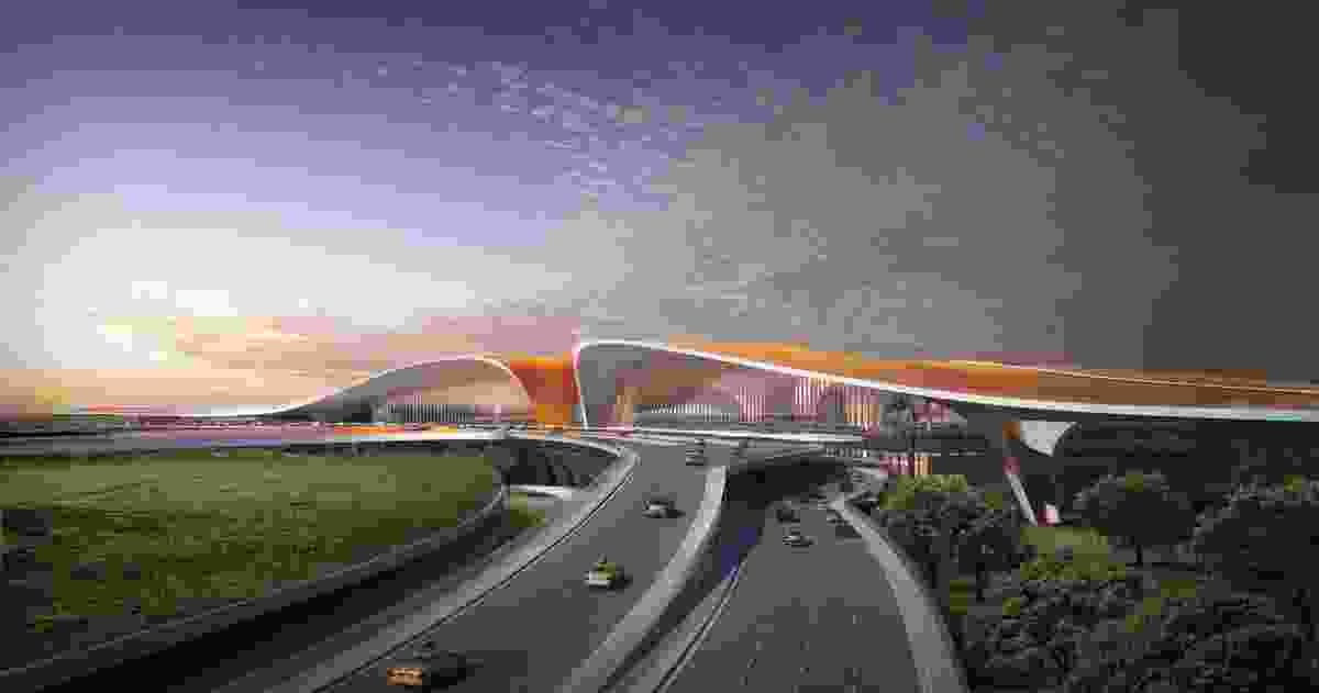 The star-shaped airport will feature a five-kilometre long facade.