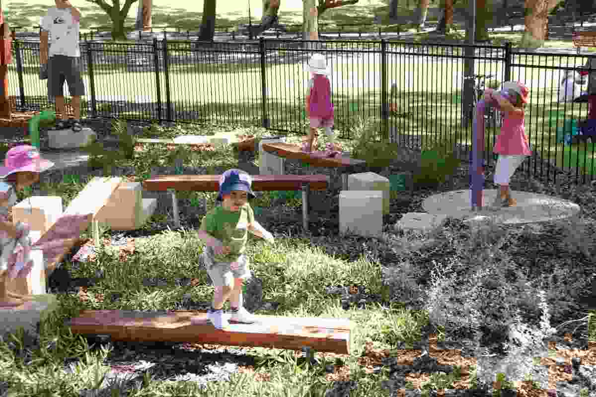 Balance beams and steppers allow children to test their abilities and explore the gardens.