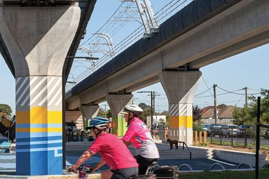 Raising the railway line above ground, as Cox Architecture did for their work along the Caulfield to Dandenong Corridor, provides an opportunity to transform the land beneath.