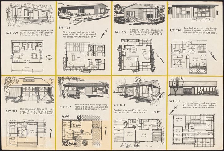Folded booklet of house plans prepared by the Small Homes Service New South Wales, conducted by the Royal Australian Institute of Architects (New South Wales chapter) in conjunction with Australian Home Beautiful at David Jones, Sydney.