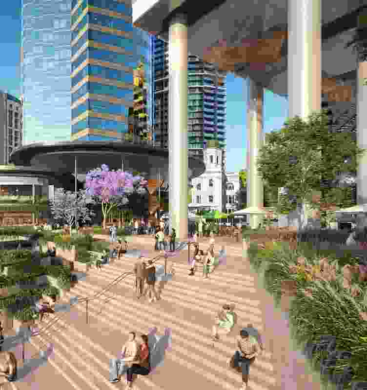 Waterfront Brisbane by FJMT and Arkhefield. The Market Steps and tower columns have been positioned to allow views to Naldham House.