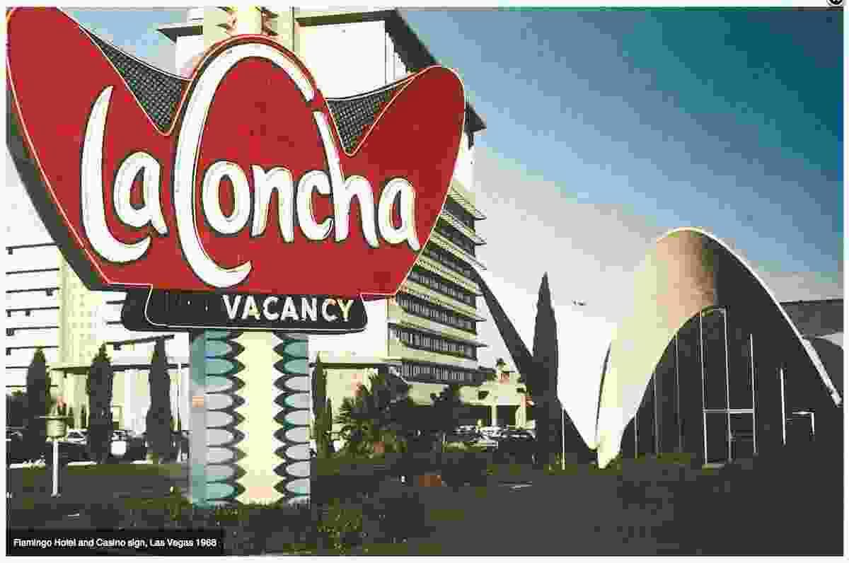 Flamigo hotel and Casino sign, Las Vegas 1968.