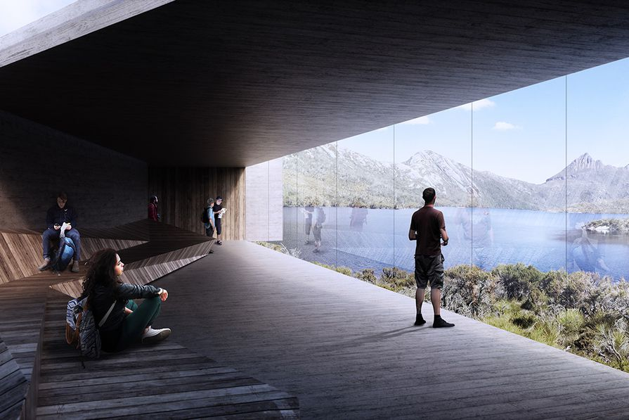 The proposed viewing shelter with panoramic views at Dove Lake, near Cradle Mountain.