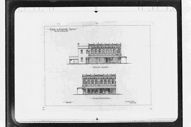 Elevations of shops and dwellings for the Van Diemen's Land Company in Burnie, Tasmania by S. & A. Luttrell Architects.