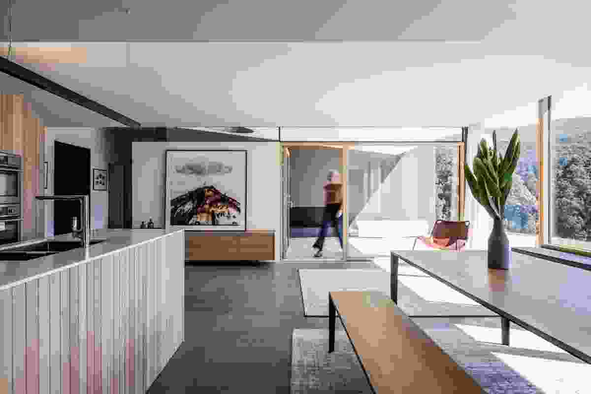 The living spaces are arranged in a loose sequence to accommodate a variety of social configurations. Artwork: Nick Goodwolf.