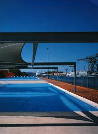 Looking north, across the training/toddlers pool, to the 50-metre pool with the docks across the bay.