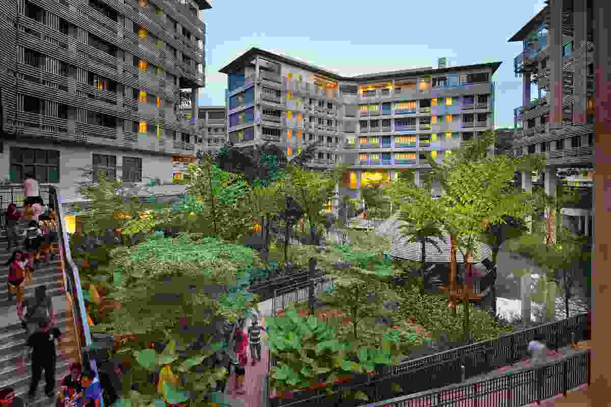 STX Landscape Architects' design for Nanyang Technological University's Pioneer and Crescent Halls creates a natural environment for learning through the creation of an immersive wetland at the heart of the student residence.