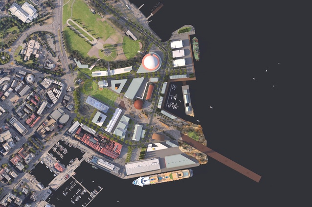 A plan of MONA's vision for the redevelopment of Macquarie Point designed by Fender Katsalidis and Rush Wright.