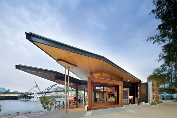 The striking form of the building boasts an architecturally folded roof.